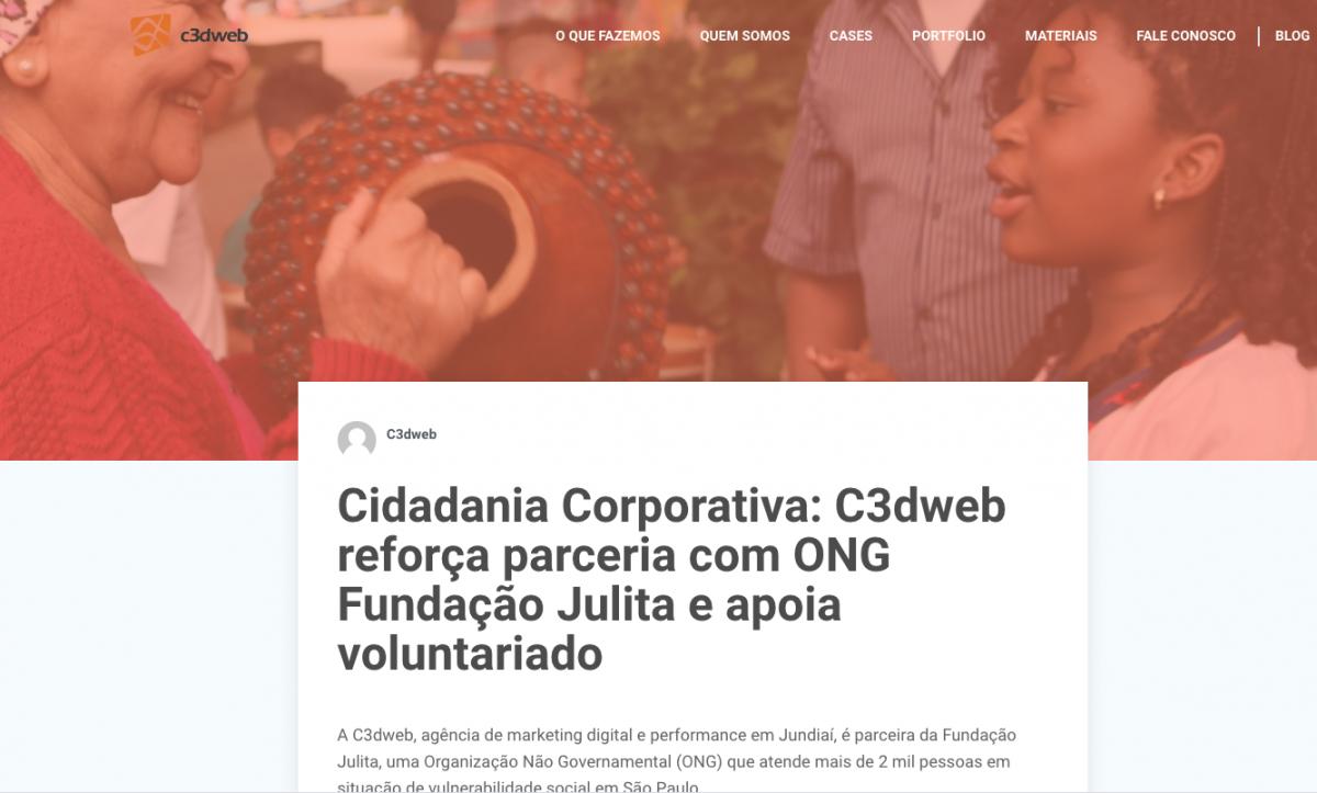 C3dweb reforça parceria com ONG Fundação Julita e apoia voluntariado