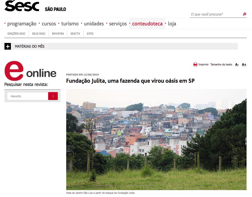 Trabalho da Fundação é reconhecido em matéria no site do SESCSP