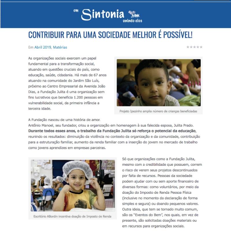 Fundação Julita é destaque na Revista Em Sintonia